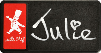 Chalkboard name badges - Black border and red background | www.namebadgesinternational.ie